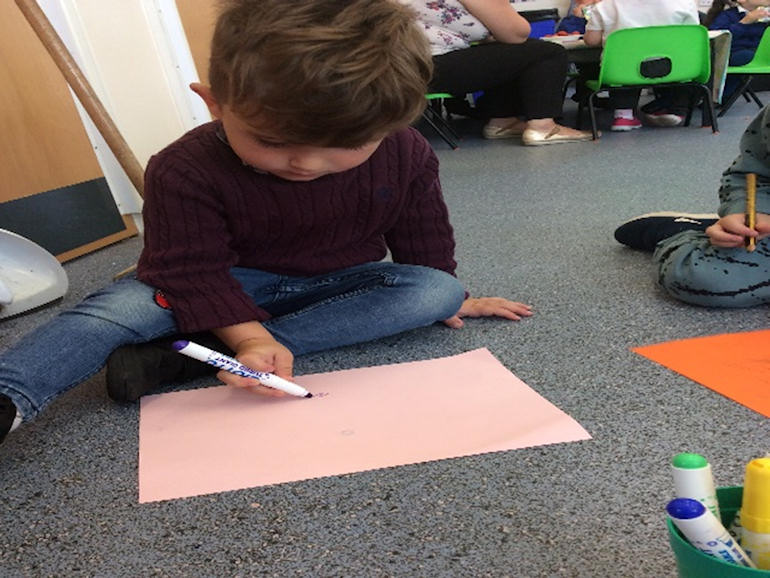 Learning to use a pen in Nursery